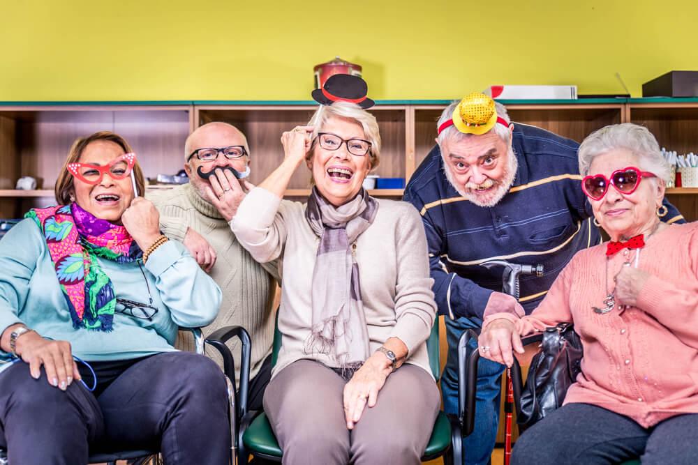 seniors having fun at nursing home